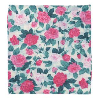 Pink Green Vintage Chic Roses Floral Pattern Bandana