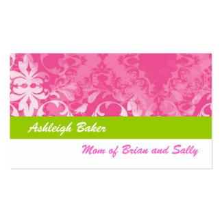 Pink Green Vintage Damask Mommy Calling Card Business Cards
