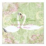 Pink green vintage engagement bird card