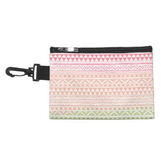 Pink Green Watercolor Aztec Tribal Print Pattern Accessory Bag