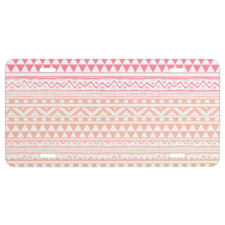 Pink Green Watercolor Aztec Tribal Print Pattern License Plate