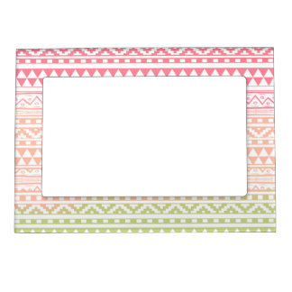 Pink Green Watercolor Aztec Tribal Print Pattern Picture Frame Magnets