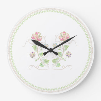 Pink Green Watercolor Floral Large Clock