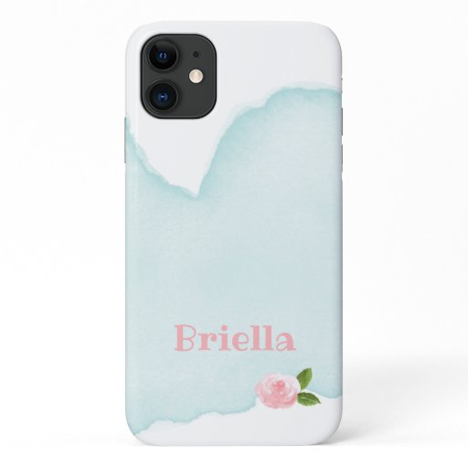 Pink Green watercolor with name iPhone 11 Case