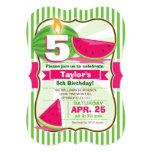 Pink & Green Watermelon, Kid's Birthday Party 5x7 Paper Invitation Card