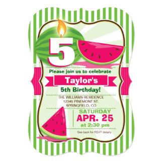 "Pink & Green Watermelon, Kid's Birthday Party 5"" X 7"" Invitation Card"