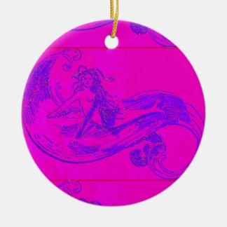pink/green waveriding mermaid ornament