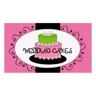 Pink Green Wedding Cake Bakery Business Cards