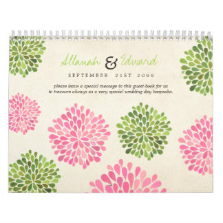 Pink Green Wedding Personalized Photo Guest Book Wall Calendars