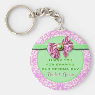 "Pink green wedding ""thank you"" theme basic round button keychain"