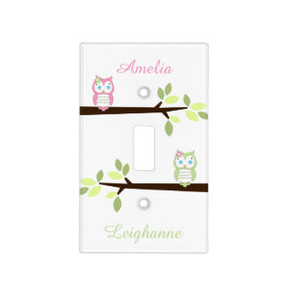 Pink Green Whimsical Owl Twin Girls Light Switch Switch Plate Covers