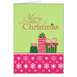 Pink green whimsical presents christmas card