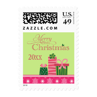Pink green whimsical presents christmas stamp