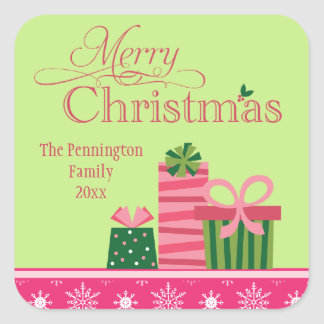 Pink green whimsical presents christmas sticker