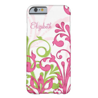 Pink Green White Abstract Floral Barely There iPhone 6 Case