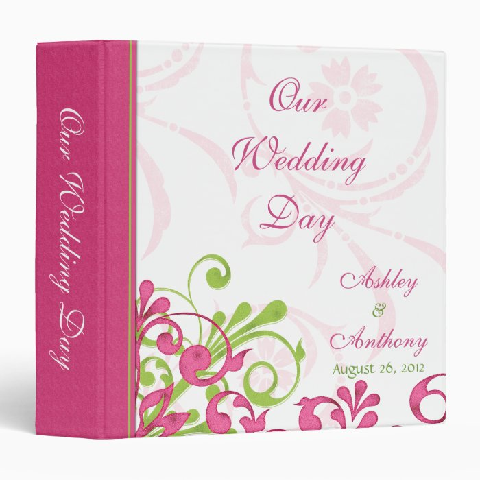 Pink Green White Abstract Floral Wedding Binder