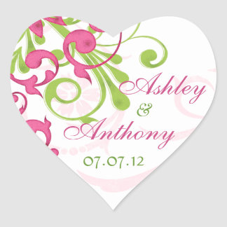 Pink Green White Abstract Floral Wedding Heart Heart Sticker