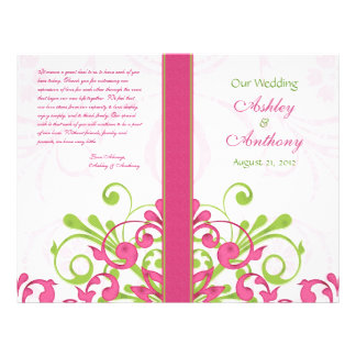 Pink Green White Abstract Floral Wedding Program