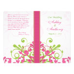 Pink Green White Abstract Floral Wedding Program Flyer