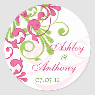 Pink Green White Abstract Floral Wedding Stickers