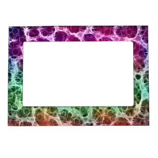 Pink Green White Abstract Magnetic Picture Frame