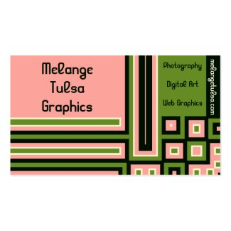 Pink, Green, White and Black Block Business Cards Business Card Template