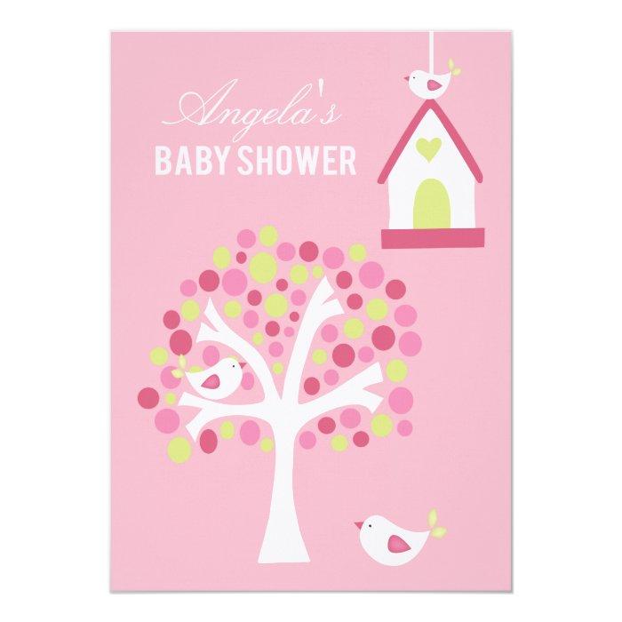 Pink Green White Birds & Tree Baby Shower Invite