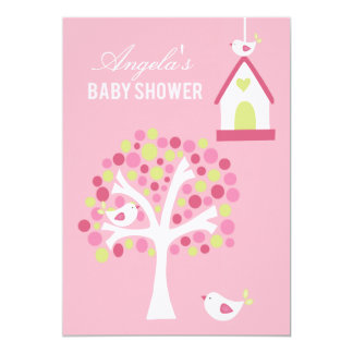 Pink Green White Birds & Tree Baby Shower Invite