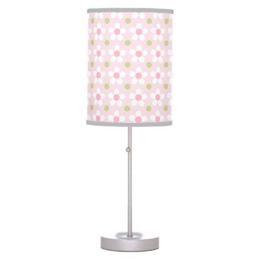 Pink, Green & White Daisy Pattern Print Lamp