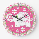 Pink Green White Elephant Floral Personalized Round Wallclock