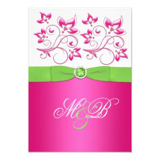 Pink, Green, White Floral Monogram Invite