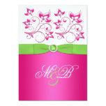 "Pink, Green, White Floral Monogram Invite 5"" X 7"" Invitation Card"