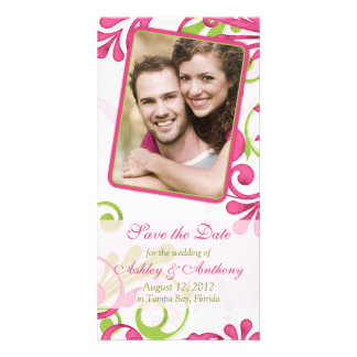 Pink, Green, White Floral Photo Save the Date Card