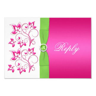 Pink Green White Floral Reply Card -PRINTED RIBBON