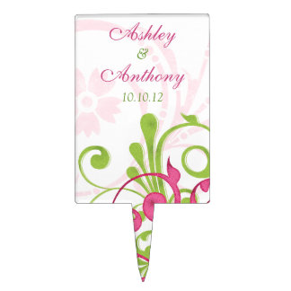 Pink Green White Floral Wedding Bridal Shower Cake Topper