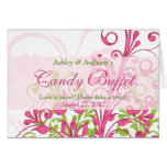 Pink Green White Floral Wedding Candy Buffet Sign Greeting Card
