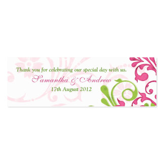 Pink Green White Floral Wedding Favor Tags Double-Sided Mini Business Cards (Pack Of 20)