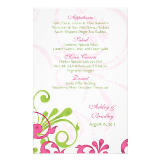 Pink Green White Floral Wedding Menu Card