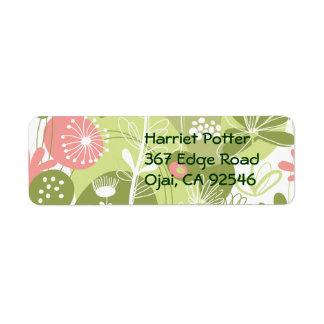Pink Green White Lovely Flowers Custom Return Address Labels