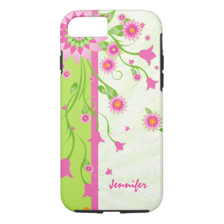 Pink Green & White Retro Flowers iPhone 8/7 Case