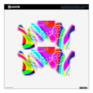 Pink Green Yellow Abstract PS3 Controller Skins
