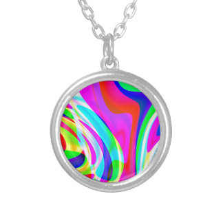 Pink Green Yellow Abstract Silver Plated Necklace