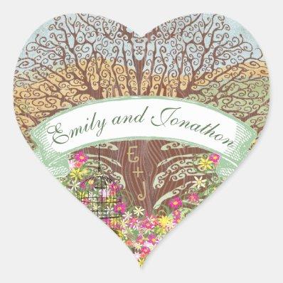 Pink Green Yellow Floral Brown Oak Tree Wedding Heart Sticker