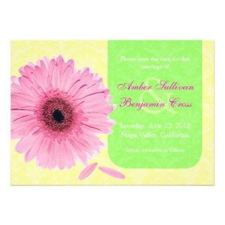 Pink Green Yellow Gebera Daisy Save the Date Invitations