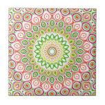 Pink, Green, Yellow & Orange Kaleidoscope Flowers Ceramic Tile