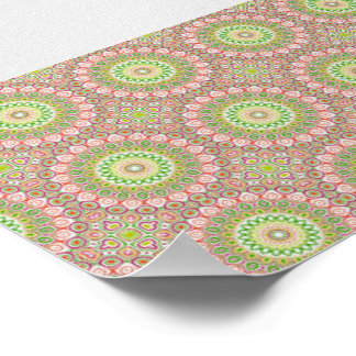 Pink, Green, Yellow & Orange Kaleidoscope Flowers Poster