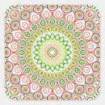 Pink, Green, Yellow & Orange Kaleidoscope Flowers Sticker