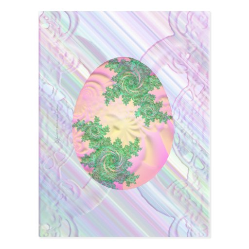Pink Green & Yellow Painted Egg Postcard