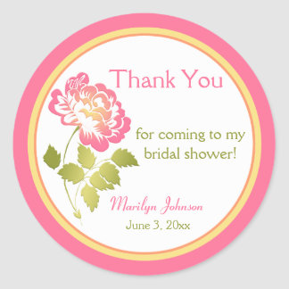 Pink, Green, Yellow, Peony Bridal Shower Sticker