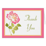 Pink, Green, Yellow, White Peony Thank You Card Card